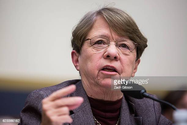 Chairman Mary Jo White testifies during a House Financial Services Committee hearing on Capitol Hill on November 15 2016 in Washington DC United...