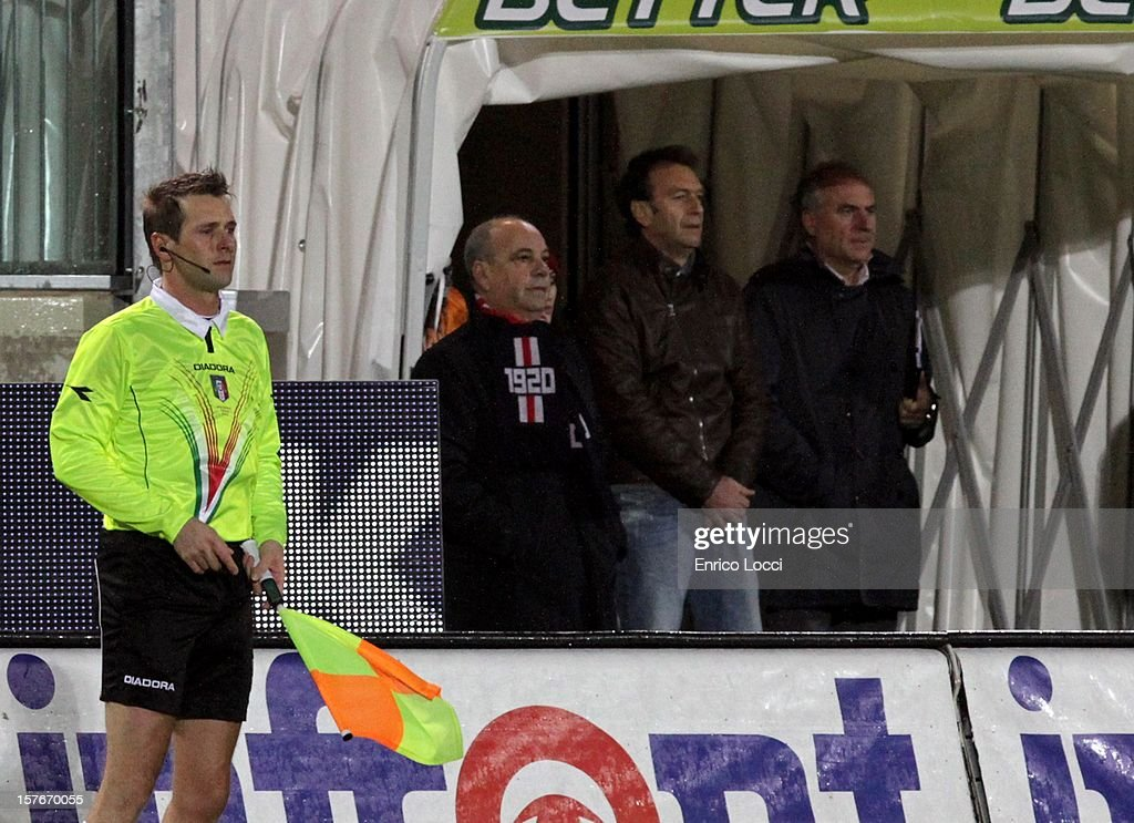 Chairman Massimo Cellino (2nd R) of Cagliari Calcio looks on during the TIM Cup match between Cagliari Calcio and Pescara at Stadio Is Arenas on December 5, 2012 in Cagliari, Italy.