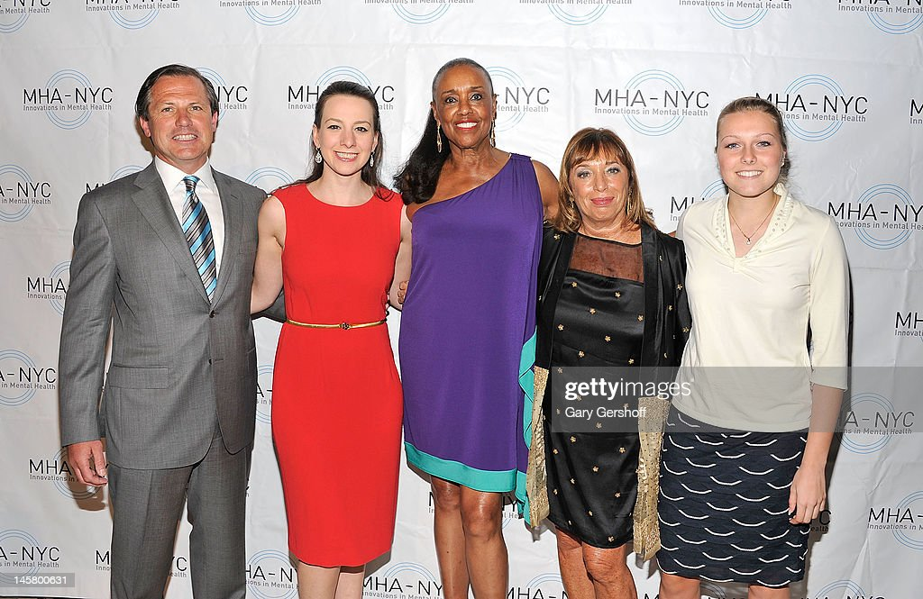 Chairman, MHA-NYC, Kevin Danehy, Olympic Gold Medalist ice skater <a gi-track='captionPersonalityLinkClicked' href=/galleries/search?phrase=Sarah+Hughes&family=editorial&specificpeople=206676 ng-click='$event.stopPropagation()'>Sarah Hughes</a>, event honoree Sylvia Mackey, President and CEO of MHA-NYC, Giselle Stolper and event honoree Sarah Rainey attend the 2012 Mental Health Association Of New York City Celebration Of Hope Gala at Cipriani 42nd Street on June 5, 2012 in New York City.