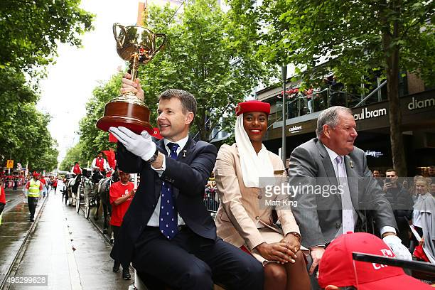 Chairman Michael Burn and Melbourne Mayor Robert Doyle display the Melbourne Cup during the 2015 Melbourne Cup Parade on November 2 2015 in Melbourne...