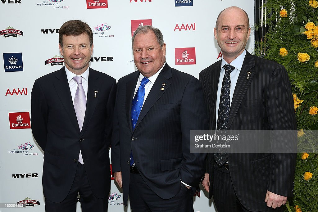 VRC Chairman Michael Burn, Lord Mayor of Melbourne Robert Doyle and VRC CEO David Courtney pose at the 2013 Melbourne Cup Carnival Launch at Flemington Racecourse on October 28, 2013 in Melbourne, Australia.
