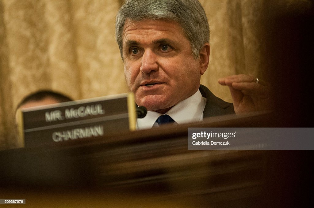 Chairman Michael McCaul (R-TX) questions the witness during the House Homeland Security Committee hearing on 'National Security and Law Enforcement: Breaking the New Visa Waiver Law to Appease Iran' on Capitol Hill on February 10, 2016 in Washington, D.C. Questions have been raised over the misuse of visa waivers, exempting some individuals from the Visa Waiver Program Improvement and Terrorist Travel Prevention Act that was passed into law last year.