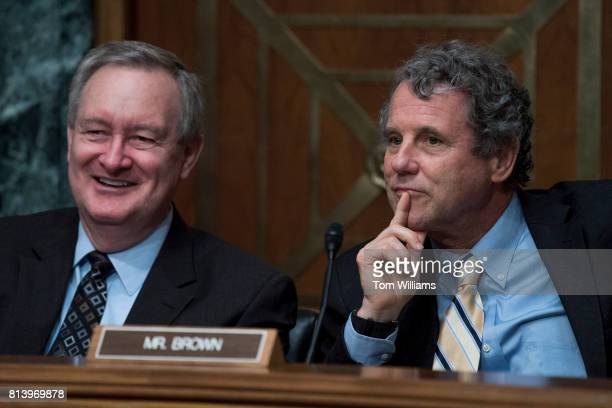 Chairman Mike Crapo RIdaho left and Ranking Member Sherrod Brown DOhio conduct a Senate Banking Housing and Urban Affairs Committee hearing titled...