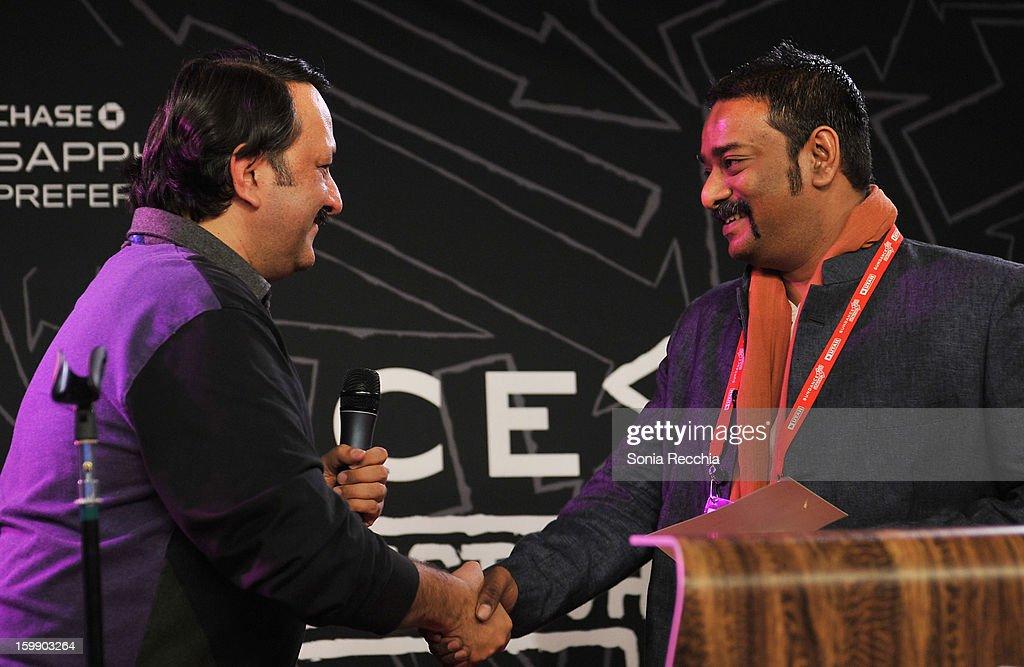 Chairman, Mumbai Mantra Rohit Khattar and director Sarthak Dasgupta speak onstage during the Sundance Institute Mahindra Global Filmmaking Award Reception at Sundance House on January 22, 2013 in Park City, Utah.