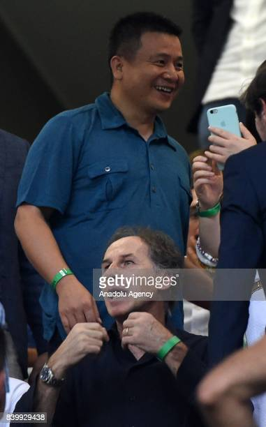 Chairman of AC Milan Yonghong Li attends Serie A soccer match between AC Milan and Cagliari Calcio at San Siro Stadium in Milan Italy on August 27...