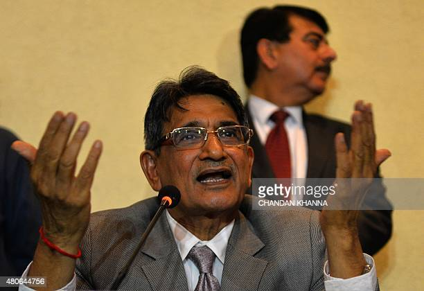 Chairman of an Indian Supreme Court appointed panel Rajendra Mal Lodha gestures during a press conference in New Delhi on July 14 2015 The Indian...
