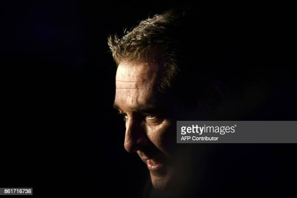 Chairman of Austria's farright Freedom Party HeinzChristian Strache celebrates after the results of the general elections in Vienna on October 15...