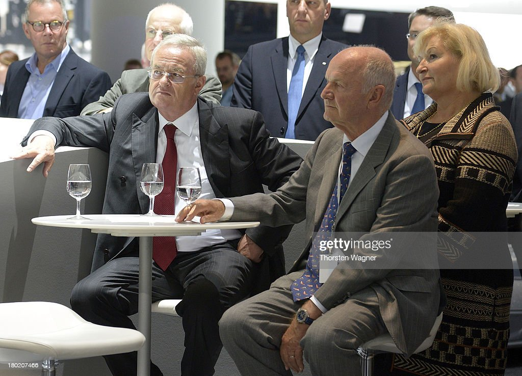 Chairman of board of Volkswagen AG, manager Ferdinand Piech and his wife Ursula Piech look on during the press day at the international motor show IAA (Internationale Automobil-Ausstellung) on September 11, 2013 in Frankfurt am Main, Germany. The world's biggest motor show, the IAA, is running from September 12 to 22, 2013