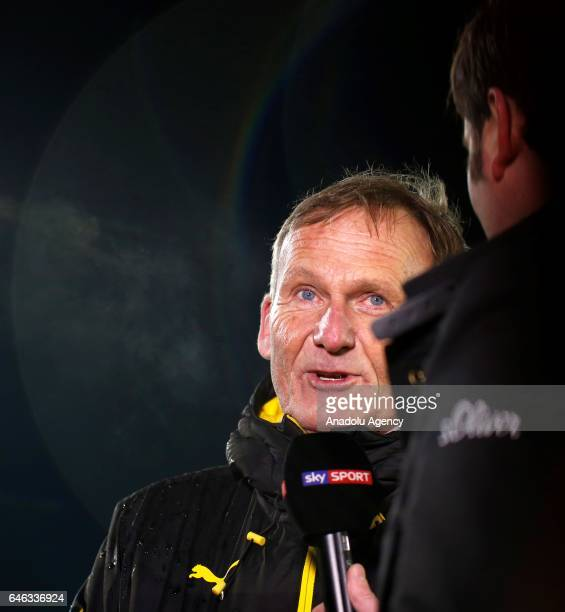 Chairman of Borussia Dortmund Hans Joachim Watzke is seen on the pitch during heavy snow fall in Lotte Germany on February 28 2017 Sportfreunde Lotte...