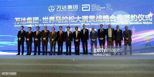 Chairman of China's Wanda Group Wang Jianlin attends the Signing Ceremony for the Strategic Partnership between Wanda Group and The Abbott World...