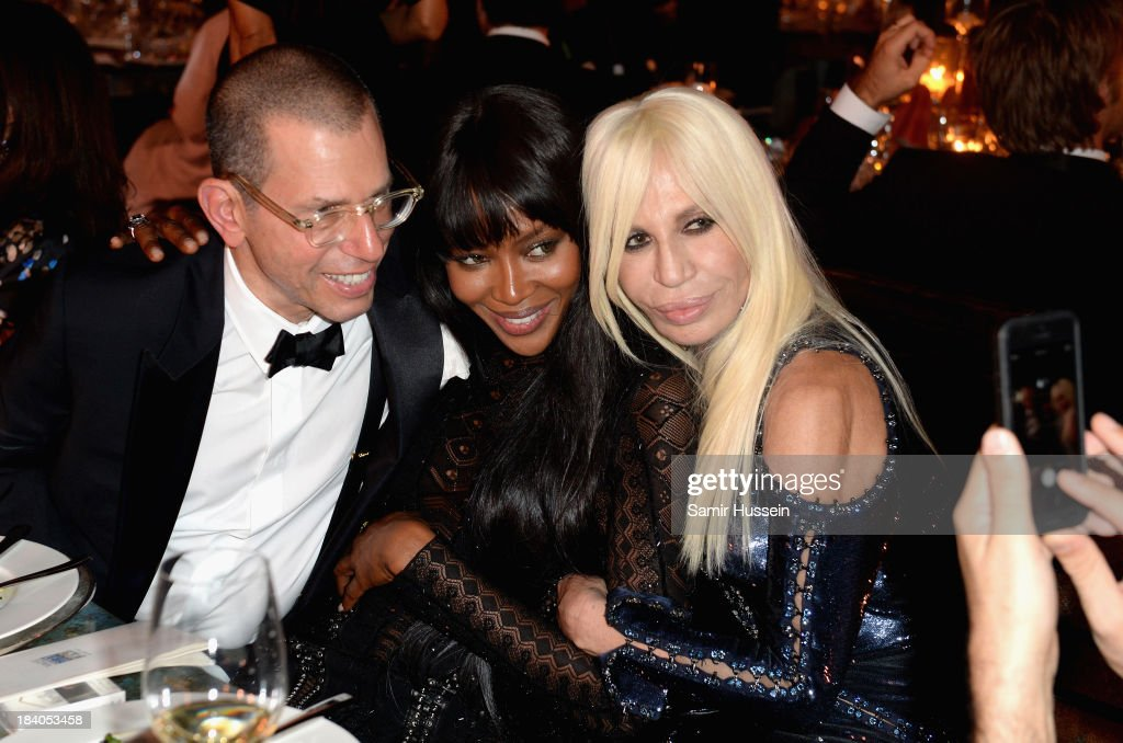 Chairman of Conde Nast International Jonathan Newhouse, model Naomi Campbell and Donatella Versace attend the gala dinner at the Armani Pavilion during Vogue Fashion Dubai Experience on October 10, 2013 in Dubai, United Arab Emirates.