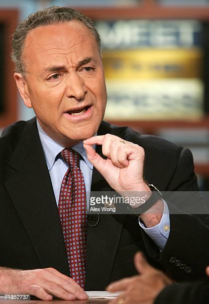 Chairman of Democratic Senatorial Campaign Committee Sen Charles Schumer speaks during a taping of 'Meet the Press' at the NBC studios July 2 2006 in...