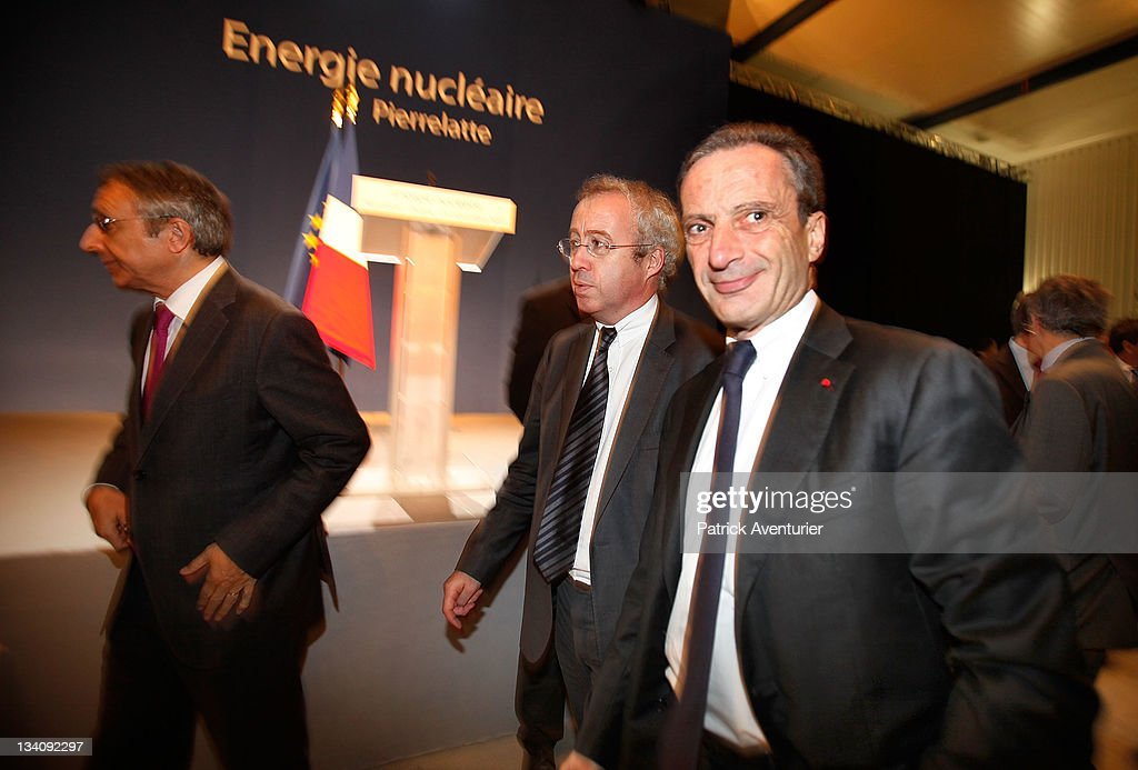 Chairman of EDF <a gi-track='captionPersonalityLinkClicked' href=/galleries/search?phrase=Henri+Proglio&family=editorial&specificpeople=569837 ng-click='$event.stopPropagation()'>Henri Proglio</a> and Chairman of AREVA Luc Oursel attend French President Nicolas Sarkozy's visit to the Tricastin Nuclear Power Plant run by Areva and EDF on November 25, 2011 in Pierrelatte, France. Nicolas Sarkozy has defended France's nuclear industry, ahead of next year's presidential elections, after last week opposition Socialist and Green parties agreed to campaign to shut 24 of France's 58 reactors by 2025.