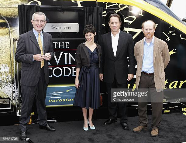 Chairman of Eurostar Guillaume Pepy Actress Audrey Tautou actor Tom Hanks and director Ron Howard name a new Eurostar Train The Da Vinci Code at...