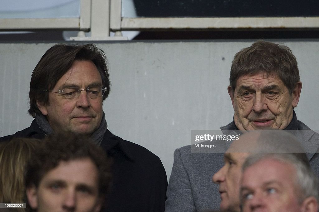 chairman of executive Committee Hans Weijers of Ajax, member of executive Committee Theo van Duivenbode of Ajax during the Dutch Eredivisie match between Ajax Amsterdam and FC Groningen at the Amsterdam Arena on December 08, 2012 in Amsterdam, The Netherlands.