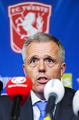 Chairman of FC Twente Onno Jacobs speaks during a press conference at the Grolsch Veste Stadium in Enschede the Netherlands on May 18 2016 Dutch...