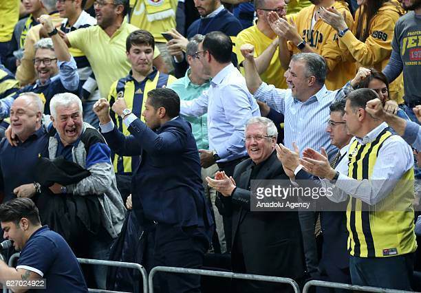 Chairman of Fenerbahce Aziz Yildirim cheers during the Turkish Airlines Euroleague basketball match between Fenerbahce and Real Madrid at Ulker...