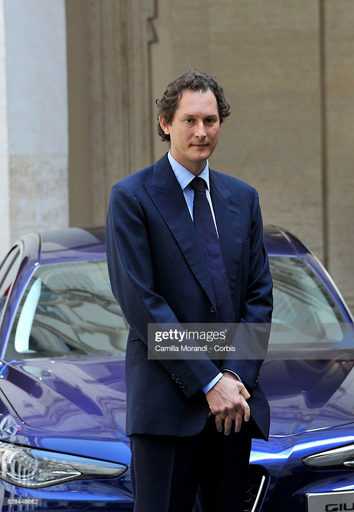 Chairman of Fiat Chrysler Automobiles <a gi-track='captionPersonalityLinkClicked' href=/galleries/search?phrase=John+Elkann&family=editorial&specificpeople=571803 ng-click='$event.stopPropagation()'>John Elkann</a> attend the unveiling of Italian car manufacturer Alfa Romeo's latest car The Alfa Romeo Giulia on May 5, 2016 in Rome, Italy.