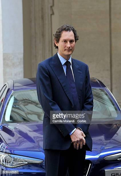 Chairman of Fiat Chrysler Automobiles John Elkann attend the unveiling of Italian car manufacturer Alfa Romeo's latest car The Alfa Romeo Giulia on...
