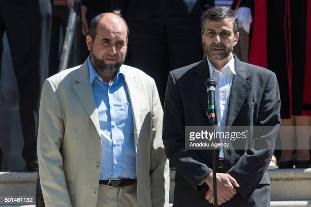 Chairman of Finsbury Park Mosque Mohammed Kozbar and CEO of Muslim Welfare House Toufik Kacimi deliver speeches after standing in silence for the...
