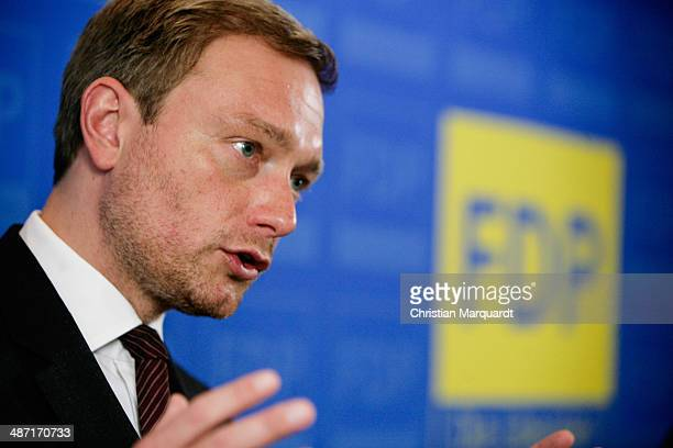 Chairman of German Free Democratic Party Christian Lindner attends a press conference with top candidate of Free Democratic Party for the European...