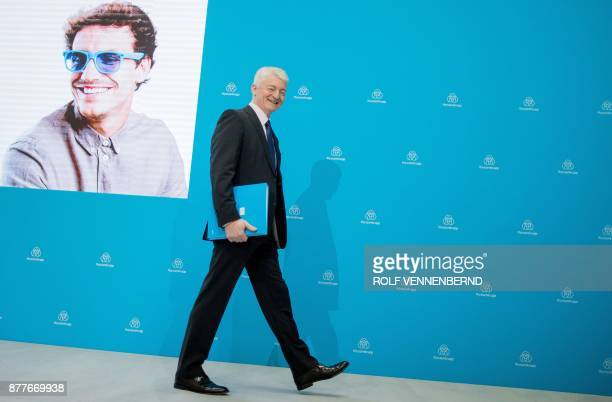 Chairman of German industrial group ThyssenKrupp Heinrich Hiesinger arrives for the annual results press conference of ThyssenKrupp in Essen western...