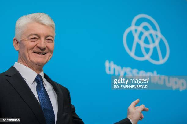 Chairman of German industrial group ThyssenKrupp Heinrich Hiesinger attends the annual results press conference of ThyssenKrupp in Essen western...