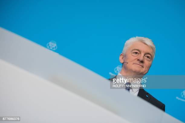 Chairman of German industrial group ThyssenKrupp Heinrich Hiesinger poses during the annual results press conference of ThyssenKrupp in Essen western...