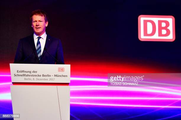 Chairman of German railway operator Deutsche Bahn Richard Lutz delivers a speech during the inauguration ceremony of a special ICE high speed train...