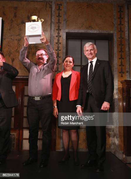Chairman of illycaff presents award at the Ernesto Illy International Coffee Award gala at the New York Public Library on Monday October 16 2017 the...