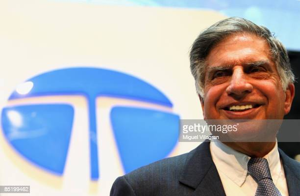 Chairman of India's Tata Motors Ratan Tata looks on during the first press day at the 79th Geneva International Motor Show on March 3 2009 in Geneva...