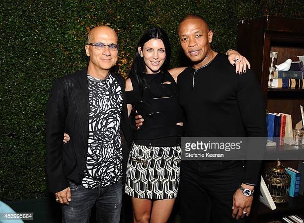 Chairman of Interscope Geffen AM Jimmy Iovine model and designer Liberty Ross and recording artist Dr Dre attend GENETIC x Liberty Ross Launch on...