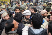 Chairman of Jammu Kashmir Liberation Front Yasin Malik leads a protest march against a military court verdict in Srinagar on January 31 2014 Scores...