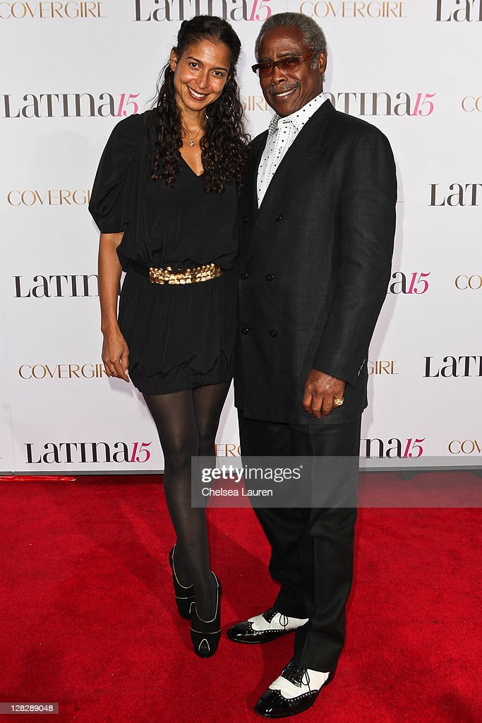 Chairman of Latina Magazine and founder of Essence Magazine Edward Lewis (R) and daughter Haydn Wright (L) attend the celebration of Latina Magazine's 15th anniversary at The Globe Theatre on October 5, 2011 in Universal City, California.