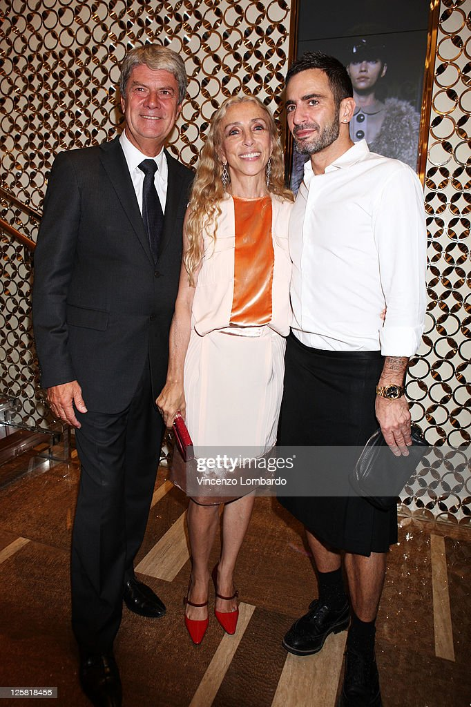 CEO Chairman of Louis Vuitton Yves Carcelle Franca Sozzani and Marc Jacobs attend the Louis Vuitton flagship store opening during Milan Fashion Week...