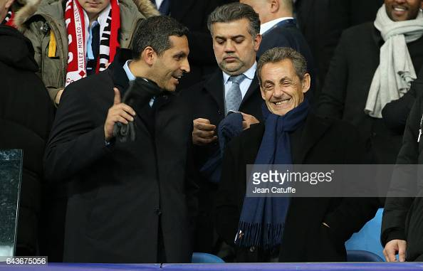 Chairman of Manchester City Khaldoon Al Mubarak and former French President Nicolas Sarkozy attend the UEFA Champions League Round of 16 first leg...