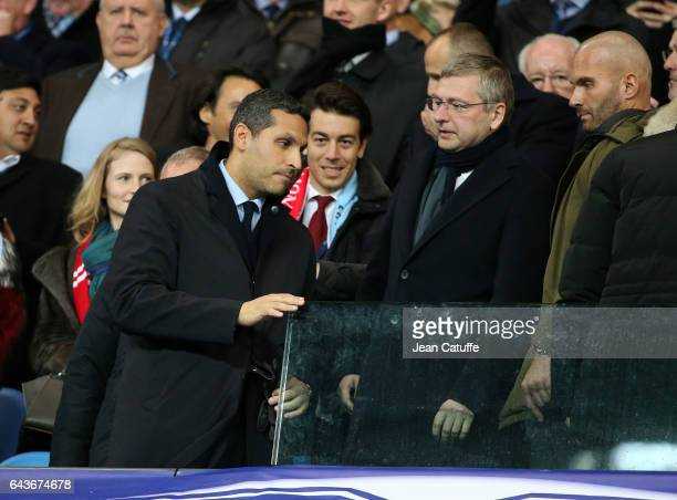 Chairman of Manchester City Khaldoon Al Mubarak and President of AS Monaco Dmitri Rybolovlev attend the UEFA Champions League Round of 16 first leg...