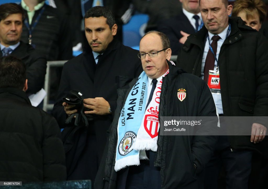 Chairman of Manchester City Khaldoon Al Mubarak, Prince Albert II of Monaco attend the UEFA Champions League Round of 16 first leg match between Manchester City FC and AS Monaco at Etihad Stadium on February 21, 2017 in Manchester, United Kingdom.