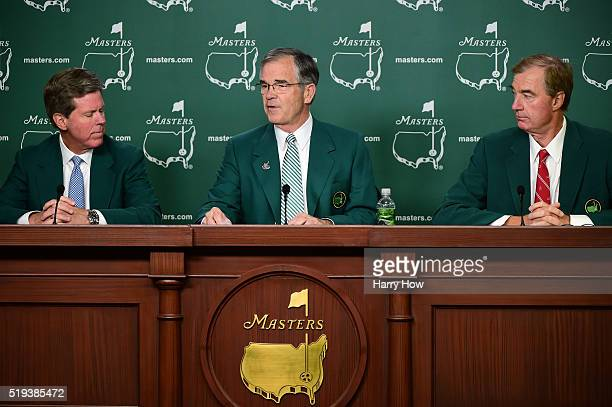 Chairman of Masters Competition Committee Fred Ridley Chairman of Augusta National William Porter Payne and Craig Heatley speak to the media during a...