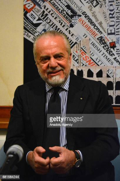 Chairman of Napoli Football Club Aurelio De Laurentiis delivers a speech during his visit to the foreign press center in Rome Italy on May 10 2017