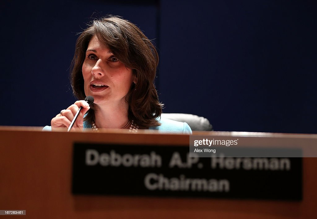 Chairman of National Transportation Safety Board Deborah Hersman during an investigative hearing into the Boeing 787 battery fire before the NTSB April 23, 2013 in Washington, DC. The NTSB held a two-day hearing to investigate the design, testing, certification and operation of the lithium-ion battery on the Boeing 787 and the battery fire incident.