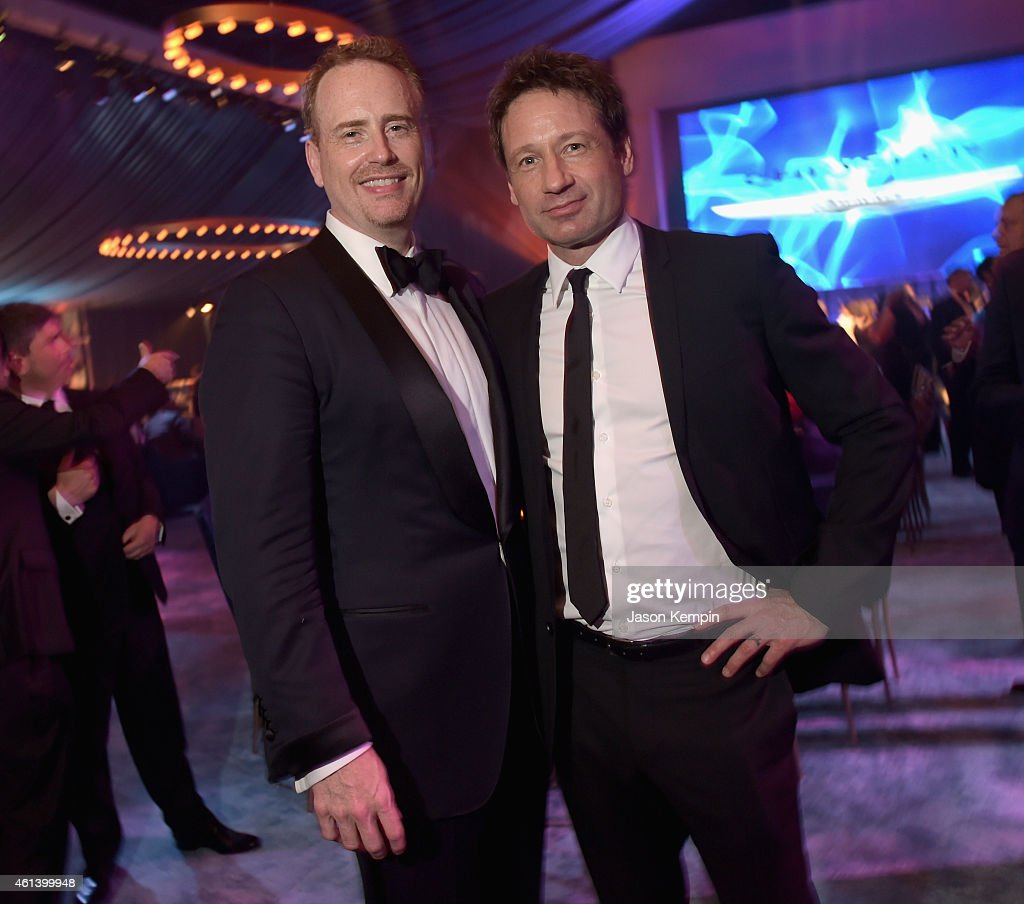Chairman of NBC Entertainment Robert 'Bob' Greenblatt and actor David Duchovny attend Universal, NBC, Focus Features and E! Entertainment 2015 Golden Globe Awards After Party sponsored by Chrysler and Hilton at The Beverly Hilton Hotel on January 11, 2015 in Beverly Hills, California.