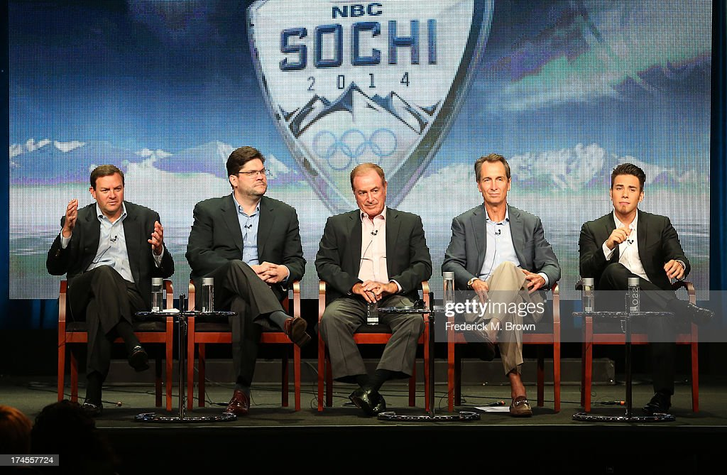 Chairman of NBC Sports Group Mark Lazarus Executive Producer Jim Bell and NBC Olympics reporters Al Michaels Cris Collinsworth and Apolo Ohno speak...