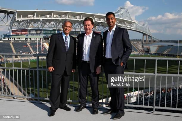 Chairman of Newcastle Falcons Semore Kurdi Chief Executive of Premiership Mark McCafferty and interim Chief Executive of Saracens Mitesh Velani pose...