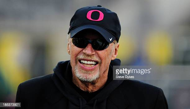 Chairman of Nike Phil Knight looks on as the Oregon Ducks warm up before the game against the Washington State Cougars at Autzen Stadium on October...