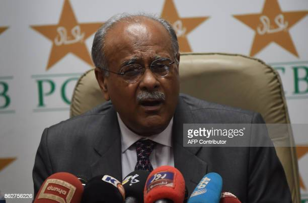 Chairman of Pakistan Cricket Board Najam Sethi speaks at a news conference at the National Stadium in Karachi on October 18 2017 Sri Lankan team...