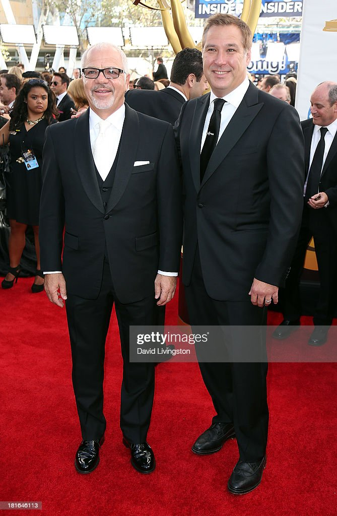 Chairman of Paradigm Talent Agency Sam Gores (L) and Paradigm Co-Head of Talent Department and Head of Motion Picture Finance Andrew Ruf attend the 65th Annual Primetime Emmy Awards at the Nokia Theatre L.A. Live on September 22, 2013 in Los Angeles, California.