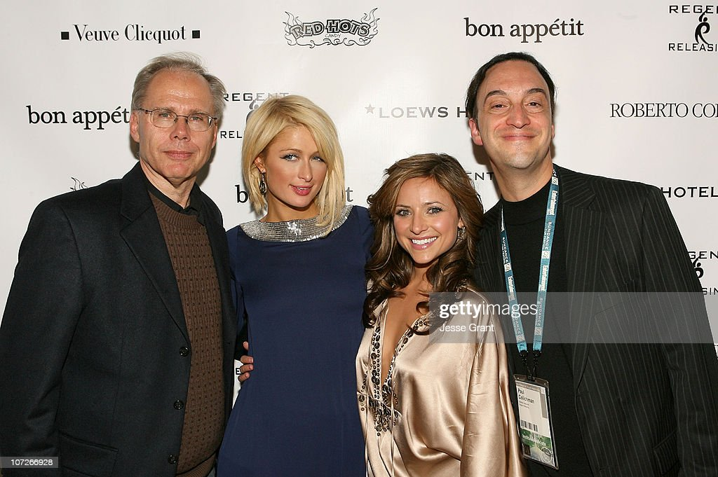 Chairman of Regent Entertainment Stephen Jarchow actress Paris Hilton actress Christine Lakin and CEO of Regent Entertainment Paul Colichman attend...