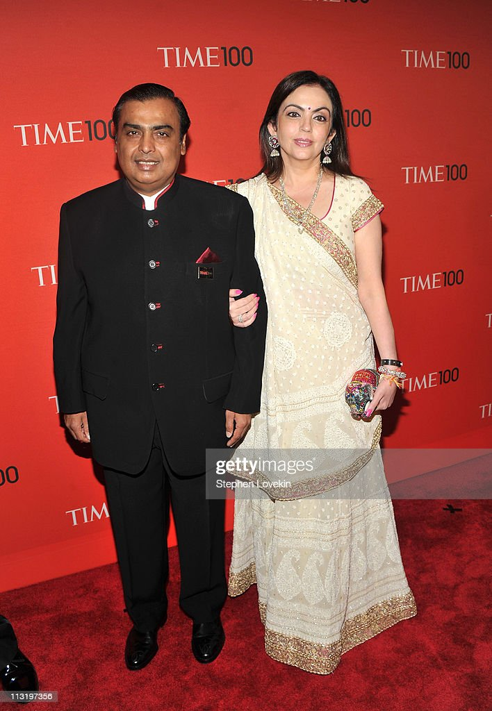 Chairman of Reliance Industries <a gi-track='captionPersonalityLinkClicked' href=/galleries/search?phrase=Mukesh+Ambani&family=editorial&specificpeople=552252 ng-click='$event.stopPropagation()'>Mukesh Ambani</a> (L) attends the TIME 100 Gala, TIME'S 100 Most Influential People In The World at Frederick P. Rose Hall, Jazz at Lincoln Center on April 26, 2011 in New York City.