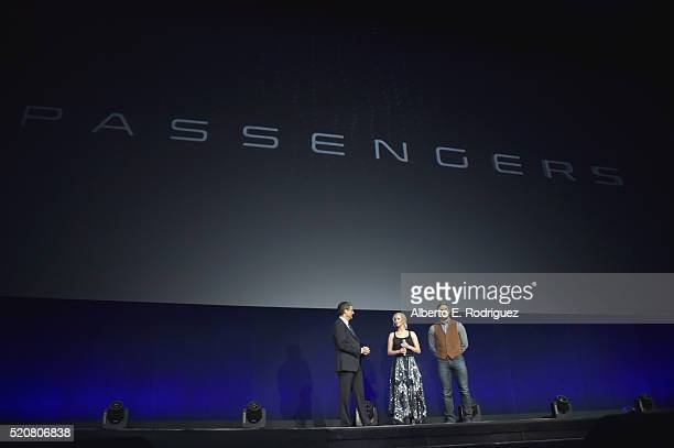 Chairman of Sony Picture Entertainment Motion Pictures Group Tom Rothman actress Jennifer Lawrence and actor Chris Pratt speak onstage during...